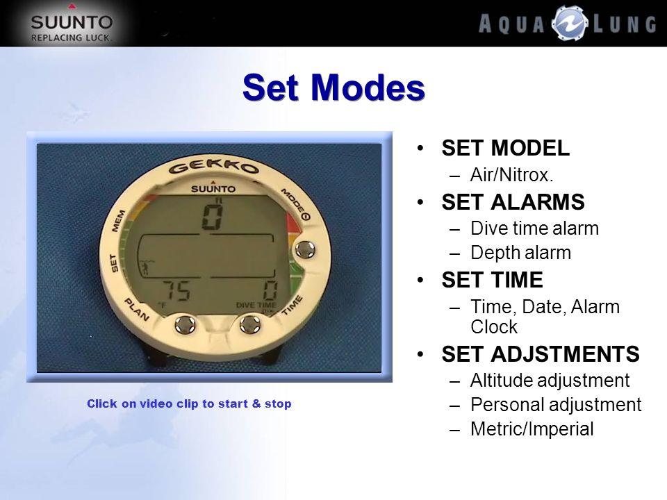 Set Modes SET MODEL –Air/Nitrox. SET ALARMS –Dive time alarm –Depth alarm SET TIME –Time, Date, Alarm Clock SET ADJSTMENTS –Altitude adjustment –Perso