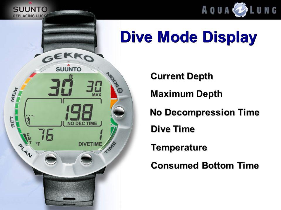 Dive Mode Display Current Depth Maximum Depth No Decompression Time Dive Time Temperature Consumed Bottom Time