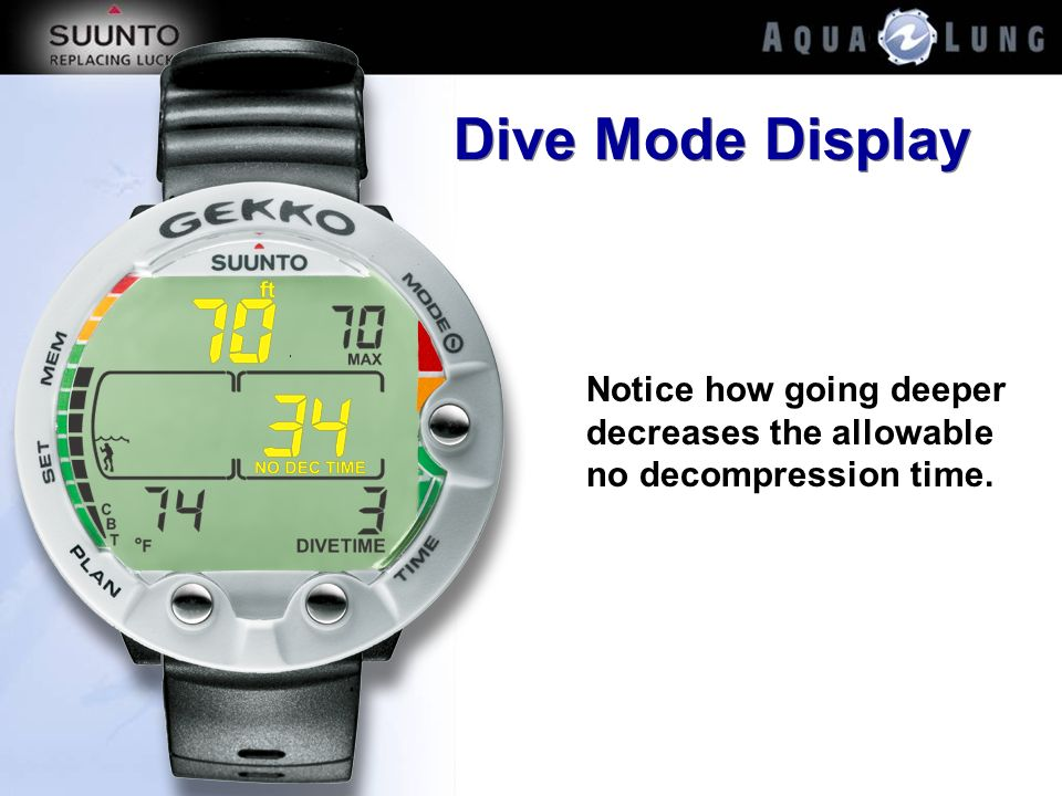 Dive Mode Display Notice how going deeper decreases the allowable no decompression time.