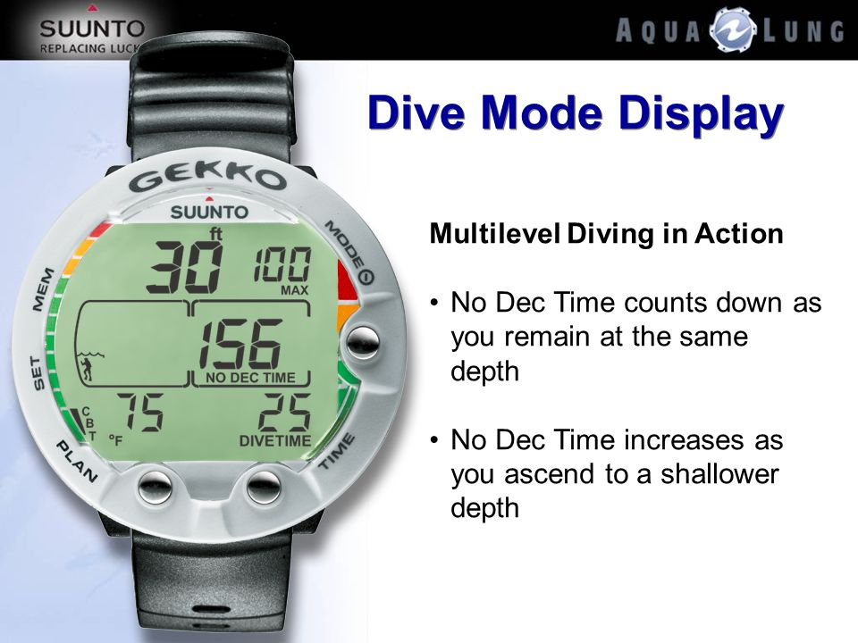 Dive Mode Display Multilevel Diving in Action No Dec Time counts down as you remain at the same depth No Dec Time increases as you ascend to a shallow