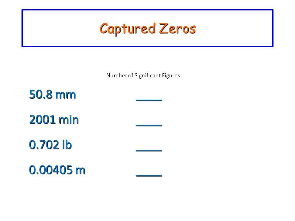 Captured Zeros Number of Significant Figures 50.8 mm____ 2001 min____ 0.702 lb____ 0.00405 m____ 0.00405 m________