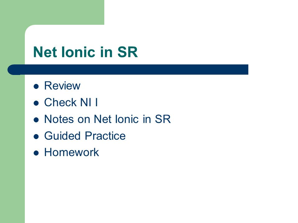 Net Ionic in SR Review Check NI I Notes on Net Ionic in SR Guided Practice Homework