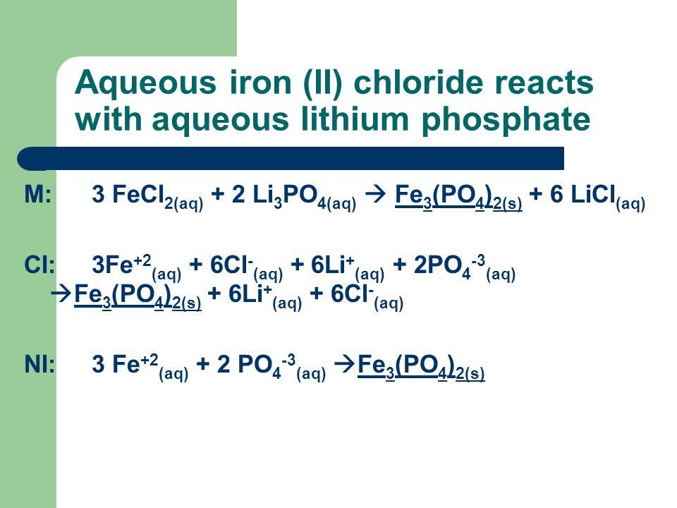 Aqueous iron (II) chloride reacts with aqueous lithium phosphate M:3 FeCl 2(aq) + 2 Li 3 PO 4(aq) Fe 3 (PO 4 ) 2(s) + 6 LiCl (aq) CI:3Fe +2 (aq) + 6Cl