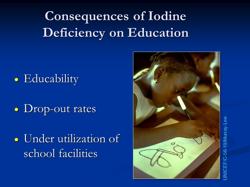 Consequences of Iodine Deficiency on Education Educability Educability Drop-out rates Drop-out rates Under utilization of school facilities Under util