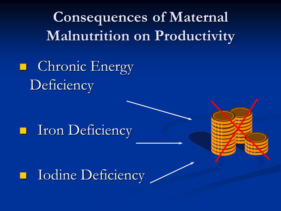 Consequences of Maternal Malnutrition on Productivity Chronic Energy Deficiency Chronic Energy Deficiency Iron Deficiency Iron Deficiency Iodine Defic