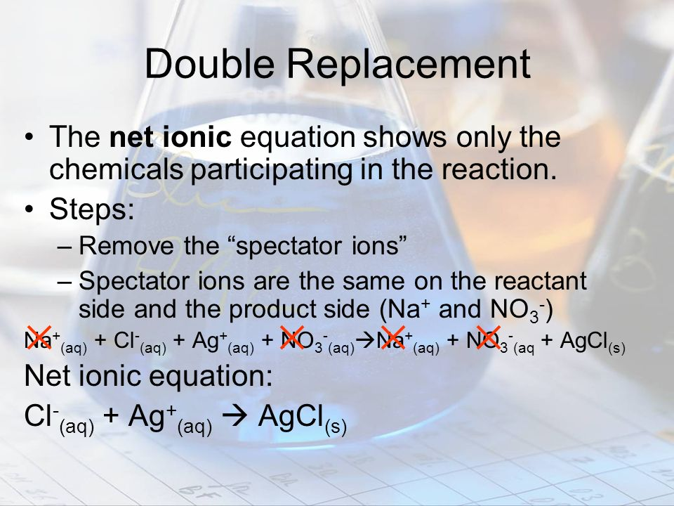 Double Replacement The net ionic equation shows only the chemicals participating in the reaction. Steps: –Remove the spectator ions –Spectator ions ar