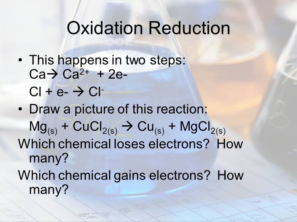Oxidation Reduction This happens in two steps: Ca Ca 2+ + 2e- Cl + e- Cl - Draw a picture of this reaction: Mg (s) + CuCl 2(s) Cu (s) + MgCl 2(s) Whic