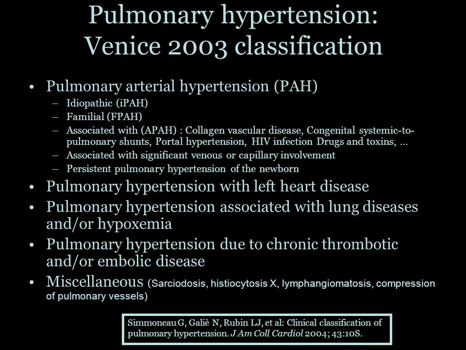 Pulmonary hypertension: Venice 2003 classification Pulmonary arterial hypertension (PAH) –Idiopathic (iPAH) –Familial (FPAH) –Associated with (APAH) :