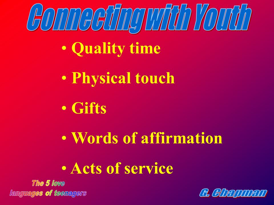 8 Quality time Physical touch Gifts Words of affirmation Acts of service