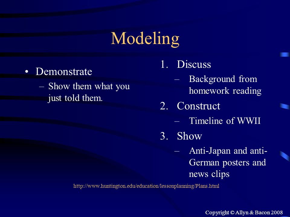 Copyright © Allyn & Bacon 2008 Modeling Demonstrate –Show them what you just told them. 1.Discuss –Background from homework reading 2.Construct –Timel