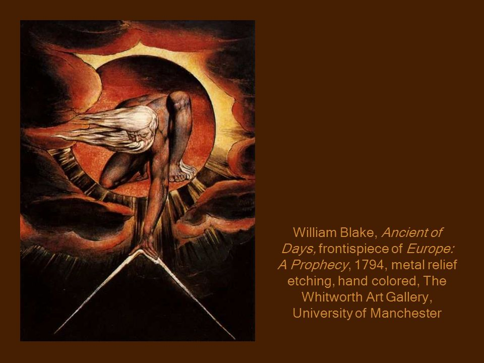 William Blake, Ancient of Days, frontispiece of Europe: A Prophecy, 1794, metal relief etching, hand colored, The Whitworth Art Gallery, University of