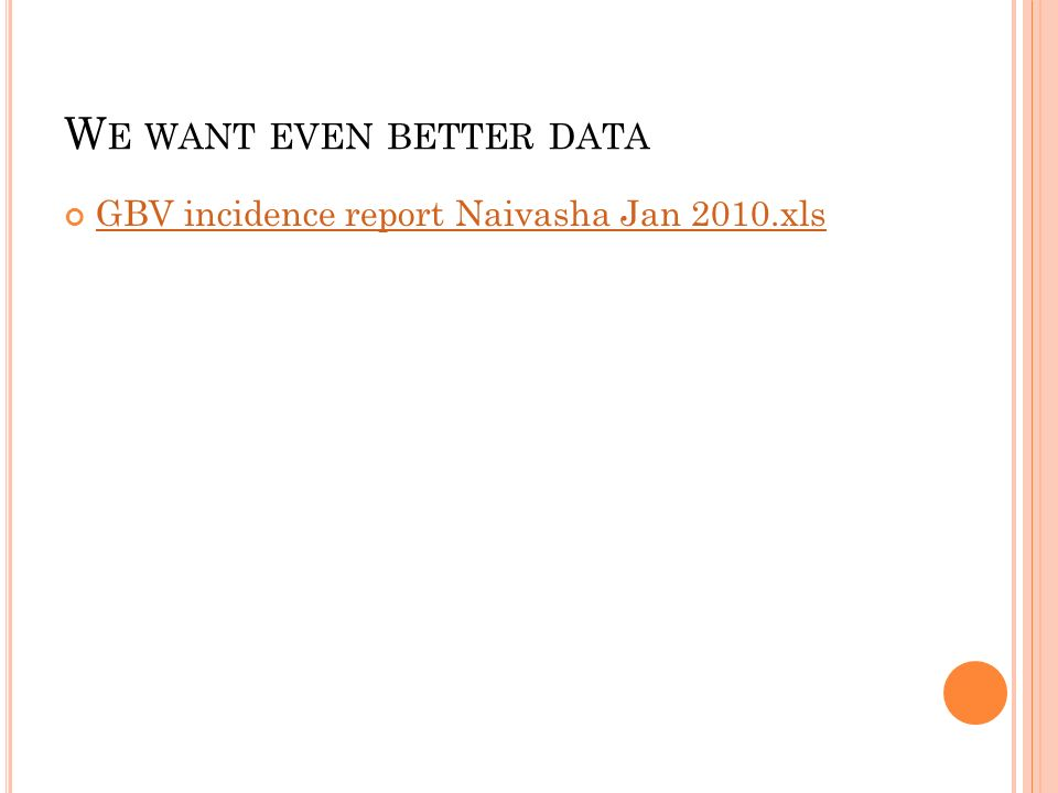 W E WANT EVEN BETTER DATA GBV incidence report Naivasha Jan 2010.xls