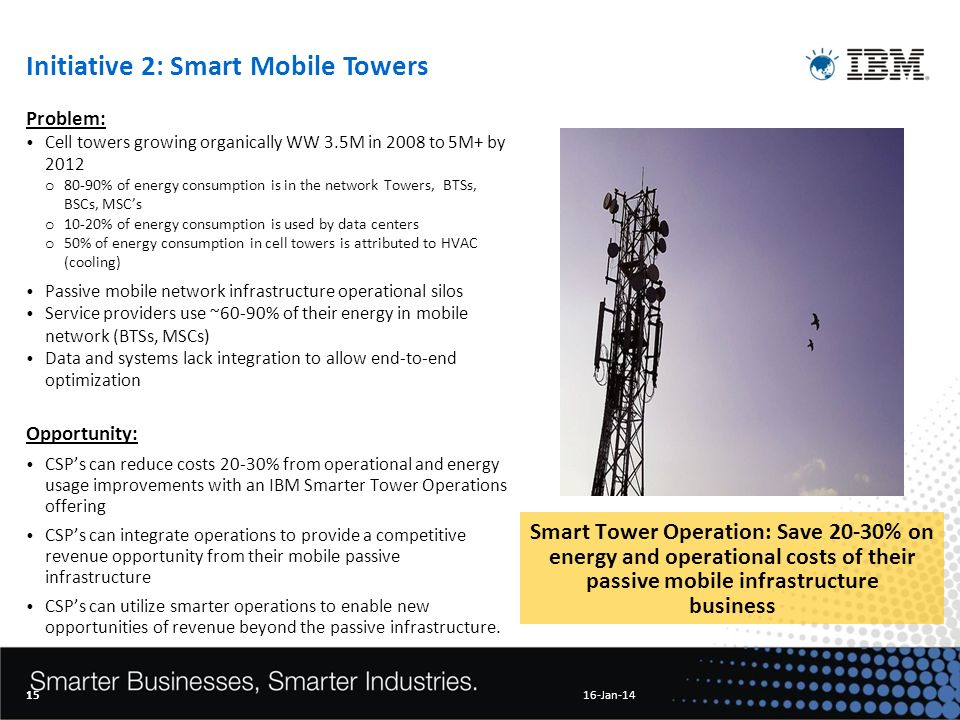 Initiative 2: Smart Mobile Towers Problem: Cell towers growing organically WW 3.5M in 2008 to 5M+ by 2012 o 80-90% of energy consumption is in the network Towers, BTSs, BSCs, MSCs o 10-20% of energy consumption is used by data centers o 50% of energy consumption in cell towers is attributed to HVAC (cooling) Passive mobile network infrastructure operational silos Service providers use ~60-90% of their energy in mobile network (BTSs, MSCs) Data and systems lack integration to allow end-to-end optimization Opportunity: CSPs can reduce costs 20-30% from operational and energy usage improvements with an IBM Smarter Tower Operations offering CSPs can integrate operations to provide a competitive revenue opportunity from their mobile passive infrastructure CSPs can utilize smarter operations to enable new opportunities of revenue beyond the passive infrastructure.
