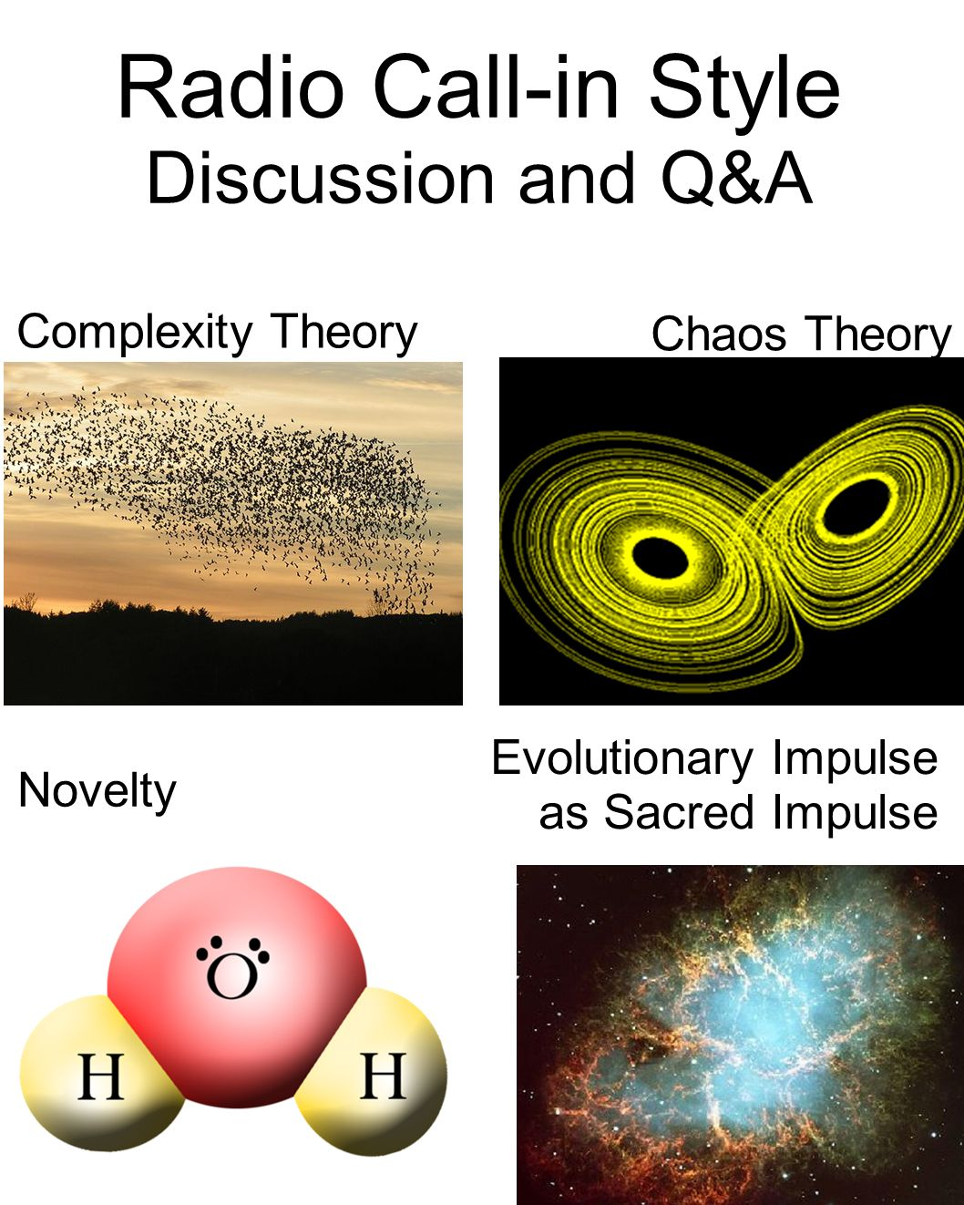 Novelty Chaos Theory Complexity Theory Radio Call-in Style Discussion and Q&A