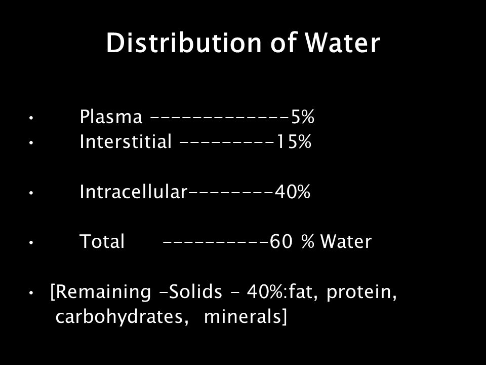 Plasma -------------5% Interstitial ---------15% Intracellular--------40% Total ----------60 % Water [Remaining -Solids - 40%:fat, protein, carbohydra