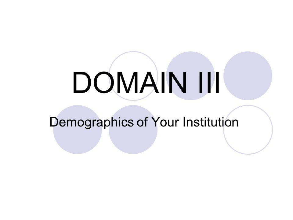 DOMAIN III Demographics of Your Institution