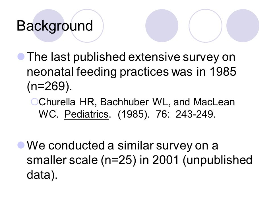 Methods 775 surveys were sent via e-mail and mail NICU Unit Directors as listed in AAP Directory (n=434) Neonatal-Perinatal Fellowship Directors (n=96) Past Ross Nutrition Conference attendees (n=245) A total of 176 responses (23% returned) MD (staff or fellow) – 70% RD – 24% NNP – 3% Other or Unknown – 3%