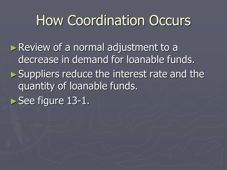 How Coordination Occurs Review of a normal adjustment to a decrease in demand for loanable funds. Review of a normal adjustment to a decrease in deman