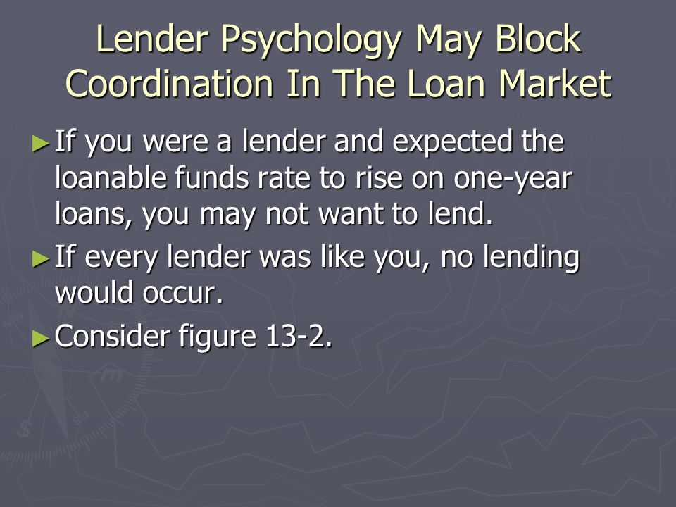 Lender Psychology May Block Coordination In The Loan Market If you were a lender and expected the loanable funds rate to rise on one-year loans, you m