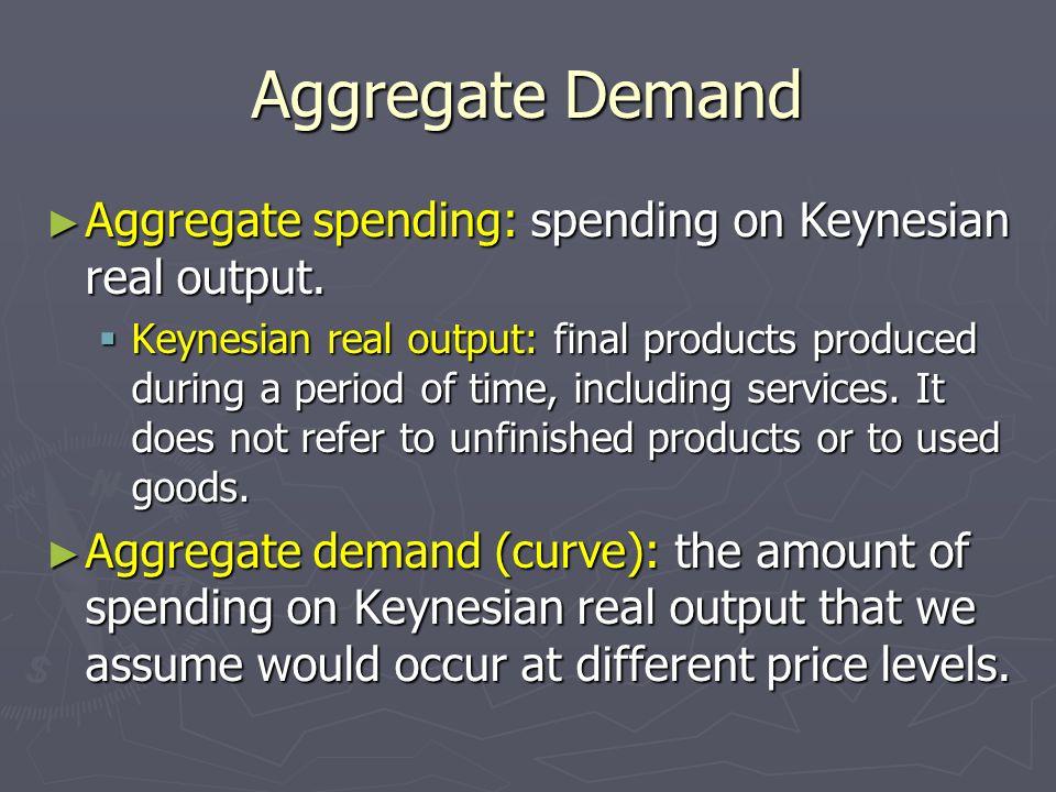 Aggregate Demand Aggregate spending: spending on Keynesian real output. Aggregate spending: spending on Keynesian real output. Keynesian real output: