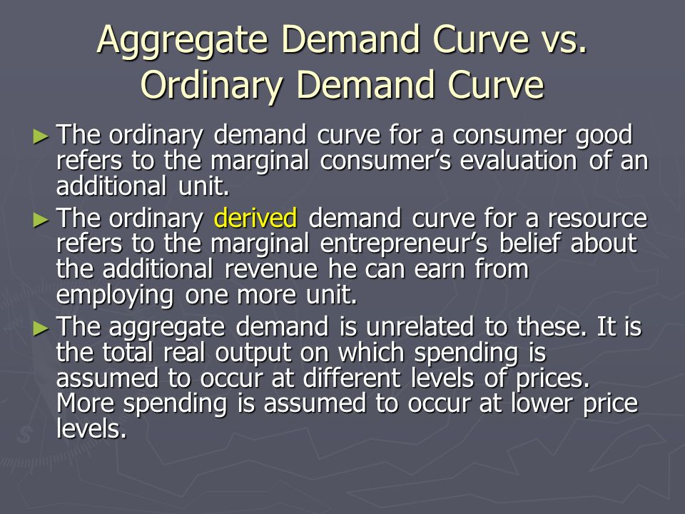 Aggregate Demand Curve vs. Ordinary Demand Curve The ordinary demand curve for a consumer good refers to the marginal consumers evaluation of an addit