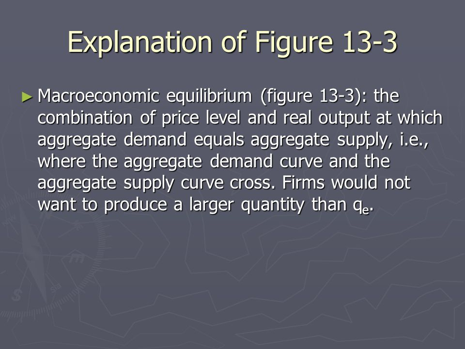 Explanation of Figure 13-3 Macroeconomic equilibrium (figure 13-3): the combination of price level and real output at which aggregate demand equals ag