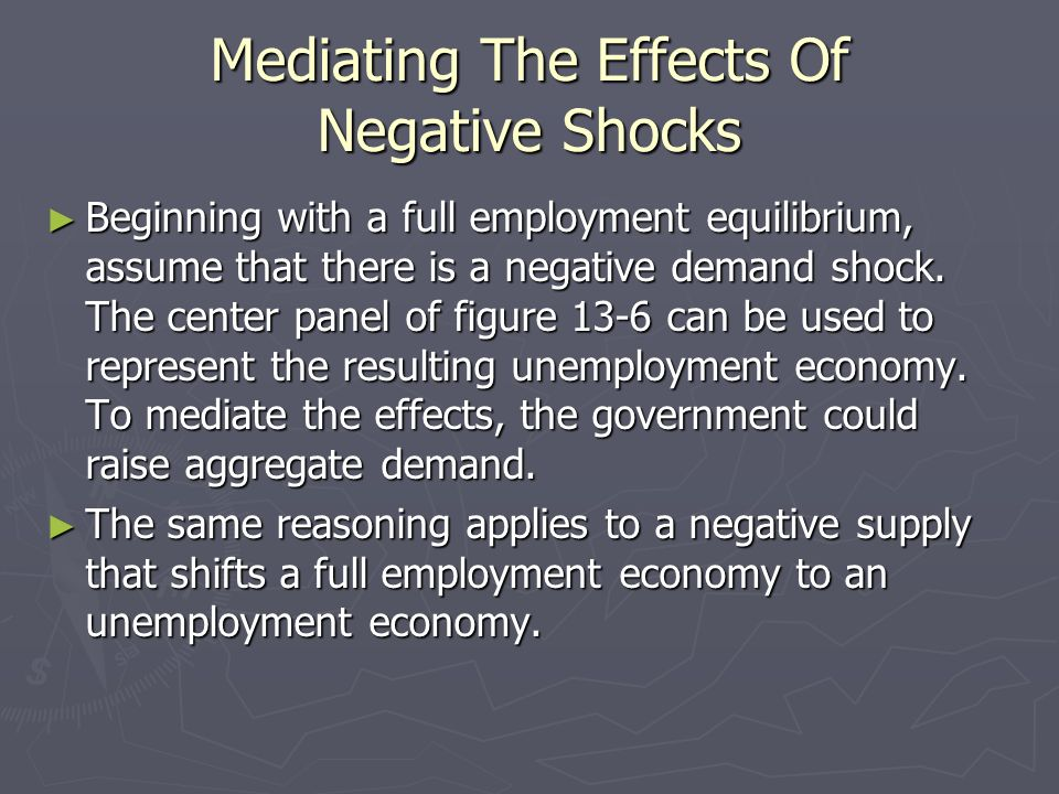 Mediating The Effects Of Negative Shocks Beginning with a full employment equilibrium, assume that there is a negative demand shock. The center panel