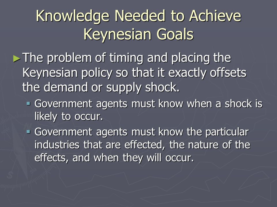 Knowledge Needed to Achieve Keynesian Goals The problem of timing and placing the Keynesian policy so that it exactly offsets the demand or supply sho