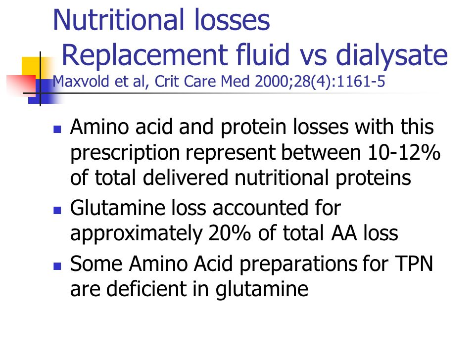 Amino acid and protein losses with this prescription represent between 10-12% of total delivered nutritional proteins Glutamine loss accounted for app