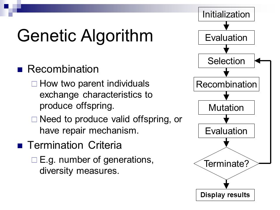 Genetic Algorithm Initialization Evaluation Selection Recombination Mutation Terminate? Evaluation Display results Recombination How two parent indivi