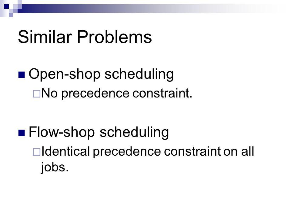 Similar Problems Open-shop scheduling No precedence constraint. Flow-shop scheduling Identical precedence constraint on all jobs.