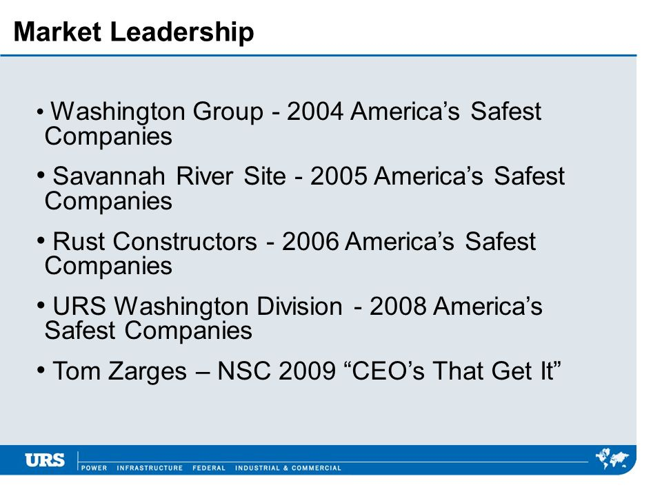 Market Leadership Washington Group - 2004 Americas Safest Companies Savannah River Site - 2005 Americas Safest Companies Rust Constructors - 2006 Amer
