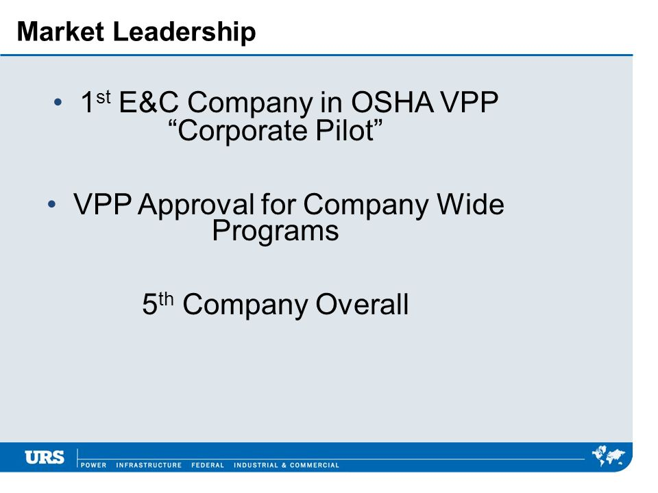 Market Leadership 1 st E&C Company in OSHA VPP Corporate Pilot VPP Approval for Company Wide Programs 5 th Company Overall