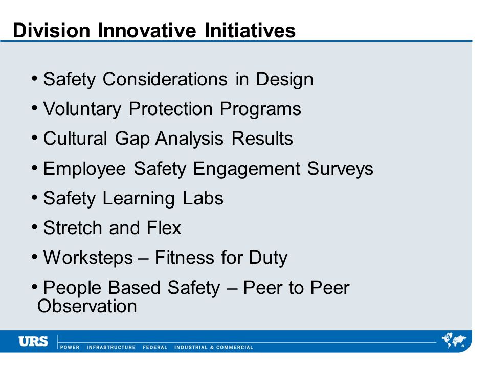Division Innovative Initiatives Safety Considerations in Design Voluntary Protection Programs Cultural Gap Analysis Results Employee Safety Engagement Surveys Safety Learning Labs Stretch and Flex Worksteps – Fitness for Duty People Based Safety – Peer to Peer Observation