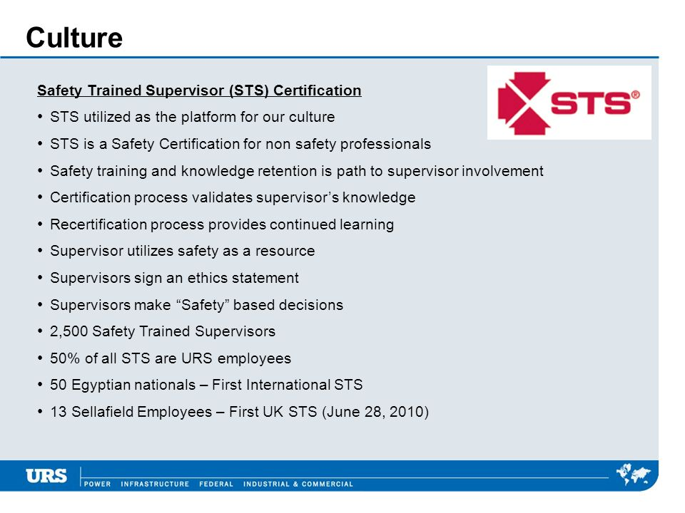 Culture Safety Trained Supervisor (STS) Certification STS utilized as the platform for our culture STS is a Safety Certification for non safety profes