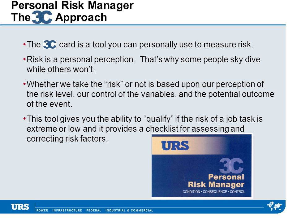 Personal Risk Manager The Approach The card is a tool you can personally use to measure risk. Risk is a personal perception. Thats why some people sky