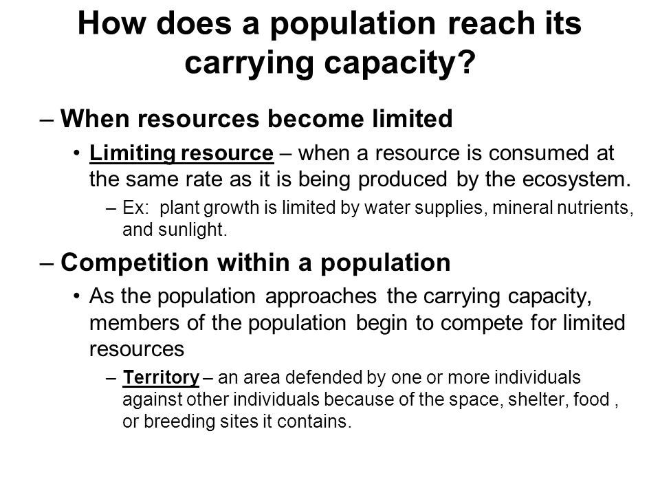How does a population reach its carrying capacity? –When resources become limited Limiting resource – when a resource is consumed at the same rate as