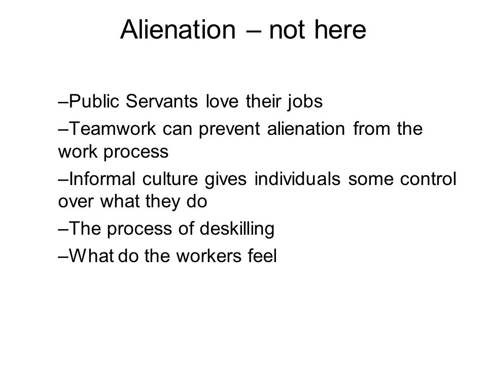 Alienation – not here –Public Servants love their jobs –Teamwork can prevent alienation from the work process –Informal culture gives individuals some