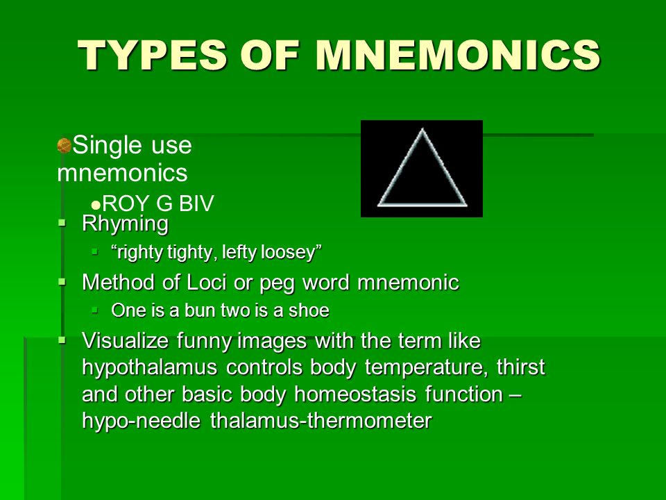 TYPES OF MNEMONICS Rhyming Rhyming righty tighty, lefty looseyrighty tighty, lefty loosey Method of Loci or peg word mnemonic Method of Loci or peg word mnemonic One is a bun two is a shoe One is a bun two is a shoe Visualize funny images with the term like hypothalamus controls body temperature, thirst and other basic body homeostasis function – hypo-needle thalamus-thermometer Visualize funny images with the term like hypothalamus controls body temperature, thirst and other basic body homeostasis function – hypo-needle thalamus-thermometer Single use mnemonics ROY G BIV