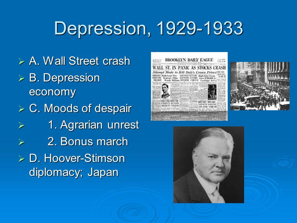Depression, 1929-1933 A. Wall Street crash A. Wall Street crash B.