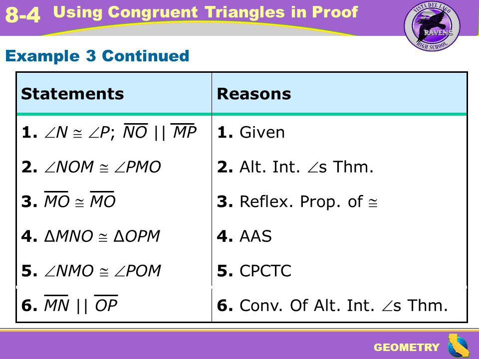 GEOMETRY 8-4 Using Congruent Triangles in Proof 5. CPCTC 5. NMO POM 6. Conv. Of Alt. Int. s Thm. 4. AAS 4. MNO OPM 3. Reflex. Prop. of 2. Alt. Int. s
