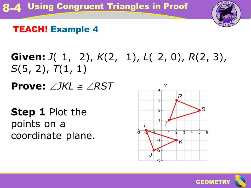GEOMETRY 8-4 Using Congruent Triangles in Proof TEACH! Example 4 Given: J( – 1, – 2), K(2, – 1), L( – 2, 0), R(2, 3), S(5, 2), T(1, 1) Prove: JKL RST