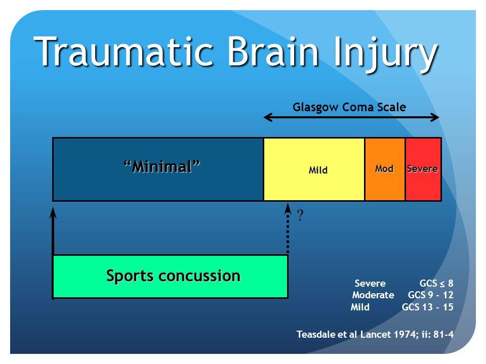 Traumatic Brain Injury Mod Mild Severe Severe GCS 8 Moderate GCS 9 - 12 Mild GCS 13 - 15 Teasdale et al Lancet 1974; ii: 81-4 Sports concussion ? Mini