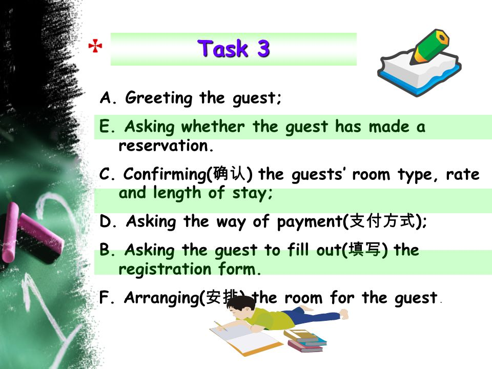 A. Greeting the guest; E. Asking whether the guest has made a reservation. C. Confirming( ) the guests room type, rate and length of stay; D. Asking t