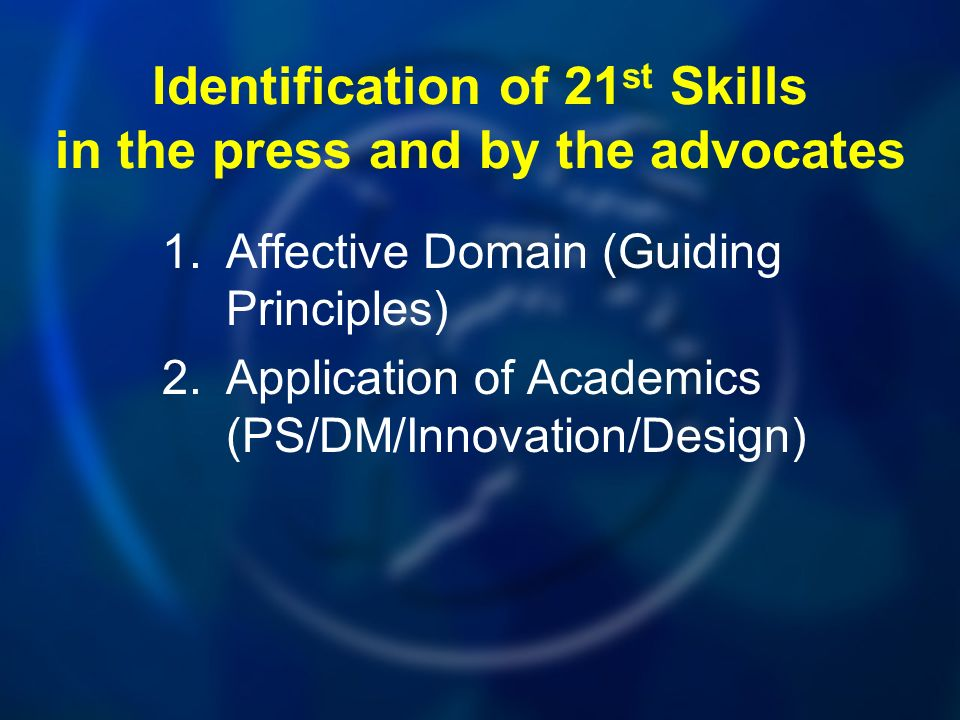 Identification of 21 st Skills in the press and by the advocates 1.Affective Domain (Guiding Principles) 2.Application of Academics (PS/DM/Innovation/