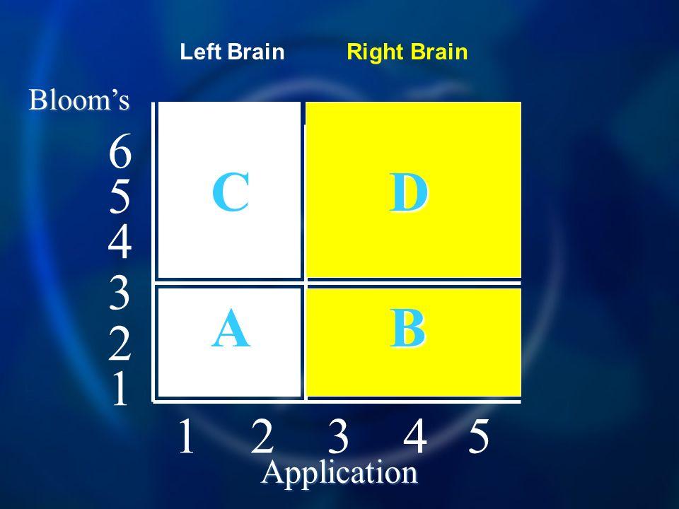 1 2 3 4 5 4 5 6 3 2 1 Blooms Application C D A B Left BrainRight Brain