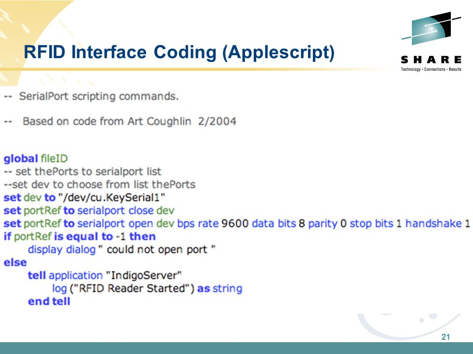 21 RFID Interface Coding (Applescript)