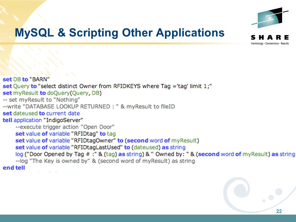 22 MySQL & Scripting Other Applications