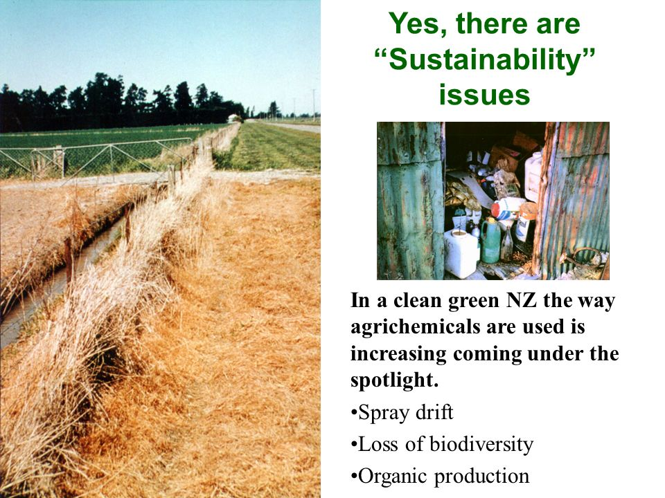 Yes, there are Sustainability issues In a clean green NZ the way agrichemicals are used is increasing coming under the spotlight. Spray drift Loss of