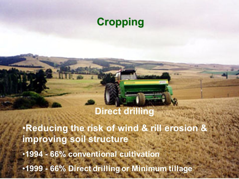 Cropping Direct drilling Reducing the risk of wind & rill erosion & improving soil structure 1994 - 66% conventional cultivation 1999 - 66% Direct dri